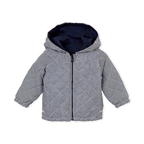 Petit Bateau Baby Boys Warm Hooded Reversible Windbreaker Jacket Navy Blue