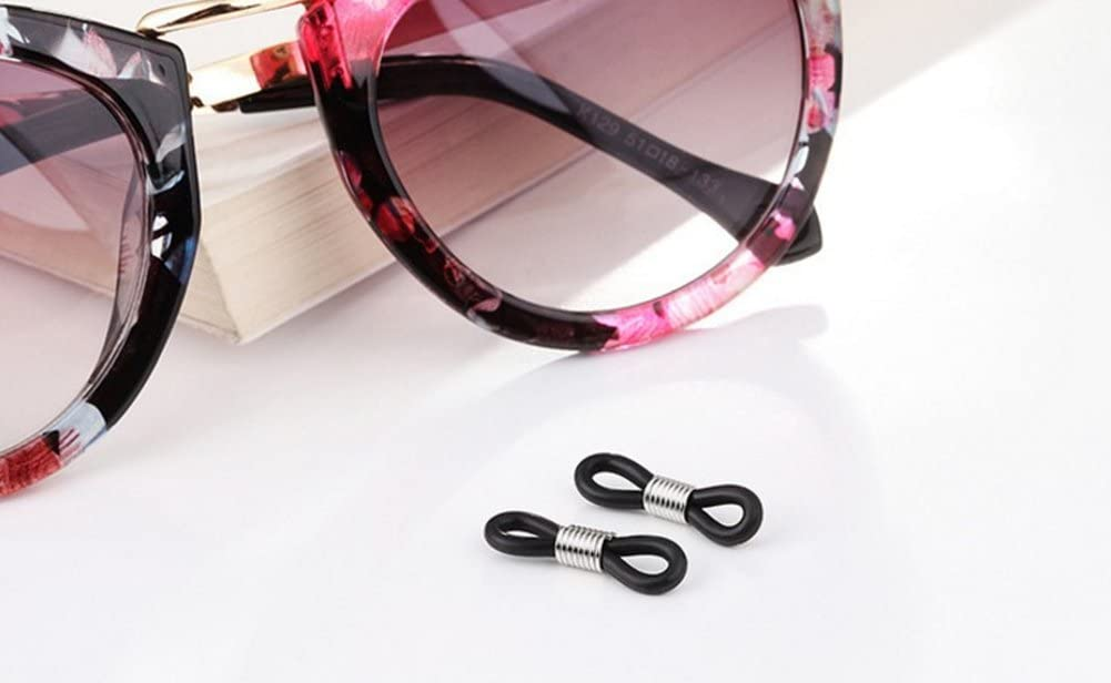 Milopon 10x Brillen Kettenenden Loop Gummi Enden f/ür Brillen Brillenhalter Anti-Rutsch-Gummi-Enden Halter Loop Schwarz