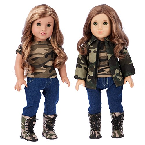 (DreamWorld Collections - Military Style - Clothes Fits 18 Inch American Girl Doll - 4 Piece Outfit - Camouflage Jacket, T-Shirt, Stretchy Jeans and Camouflage Boots (Dolls Not Included))