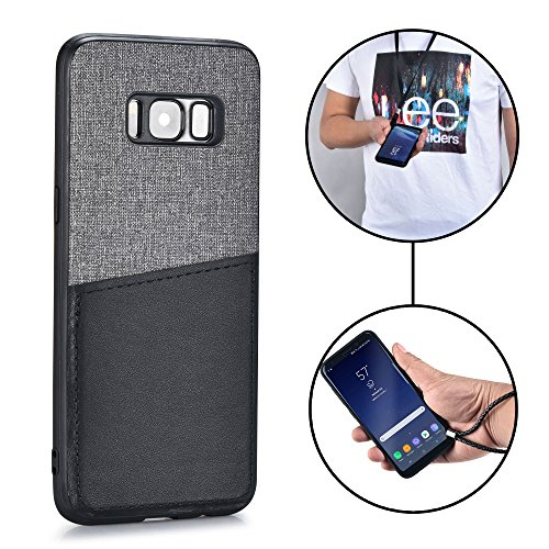 Samsung Galaxy S8 Wristlet case & Neck Strap - [Rugged Lanyard Case] MANGATA KORE Galaxy S8 Wallet Case with Leather Card Pocket + Wrist Strap, Necklace & Glass Screen Protector (Neck Pocket)