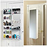MIRROR COSMETIC MAKE UP BEAUTY ORGANIZER OVER DOOR WALL HANG SPACE SAVING WHITE