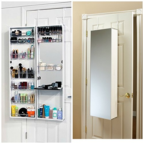 MIRROR COSMETIC MAKE UP BEAUTY ORGANIZER OVER DOOR WALL HANG SPACE SAVING WHITE by kwanchan