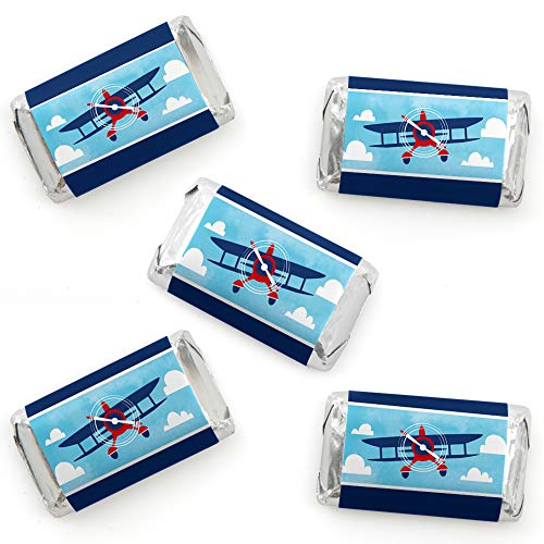 Taking Flight - Airplane - Mini Candy Bar Wrapper Stickers - Vintage Plane Baby Shower or Birthday Party Small Favors - 40 Count (Miniature Shower Candy Wrappers Baby)