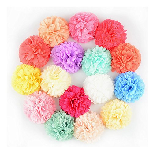 Pack of 16 Handmade 2.4 Inch Shabby Chiffon Fabric Flower for Baby Girl Headbands AIH0210
