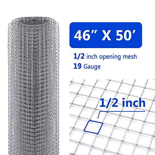 Tooca Hardware Cloth 1/2inch Chicken Wire Mesh, 48in x 50ft, 19 Gauge Hot-Dipped Galvanized Material, Fence Wire Mesh for Chicken Coop/Run/Cage/Pen/Vegetables Garden and Home Improvement Projects
