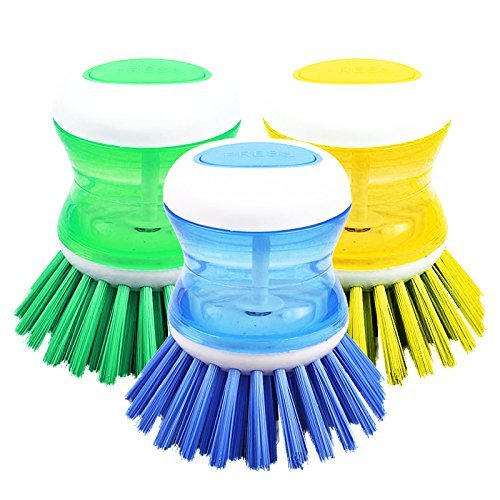 DishPanSoap | 1 Piece Soap Dispensing Kitchen Brush with Powerful Nylon Bristles for Sink / Pot / Dish Bowl / Pan, Dishwasher Safe, 3 x 2.5