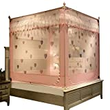 Mosquito net Single Bed on Insect net Yarn Zipper Three Door Sitting Bed Bedroom encryption Decorative Tent, Pink, 1.5M