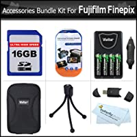 16GB Accessory Kit For Fujifilm Finepix AV200 AV230 AV250 AV280 AX300 AX330 AX350 AX380 AX655 Digital Camera Includes 16GB High Speed SD Memory Card + USB High Speed Card Reader + 4 AA High Capacity Rechargeable NIMH Batteries And AC/DC Rapid Charger ++