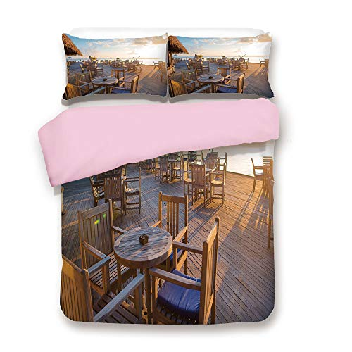 /FULL Size/Empty Wooden Open Air Cafe in Summer Near The Sea at Exotic Island/Decorative 3 Piece Bedding Set with 2 Pillow Sham/Best Gift For Girls Women/Light Brown Baby Blue ()