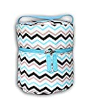 Essentielle Life - Essential Oil Diffuser Case, Essential Oil Diffuser Bag, Spacious Interior Padded Blue aqua Velvets Hold up to 12 Essential Oils ( Blue Chevron)