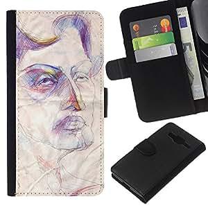 Planetar® Modelo colorido cuero carpeta tirón caso cubierta piel Holster Funda protección Para Samsung Galaxy Core Prime / SM-G360 ( Sketch Art Face Rustic Autoportrait )
