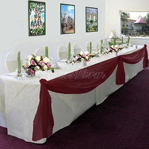 Captivating Gorgeous Home LinenMany Colors Elegant Wedding Table Valance Chair Decor  Sheer Swags Fabric Party Decorations (Burgundy)
