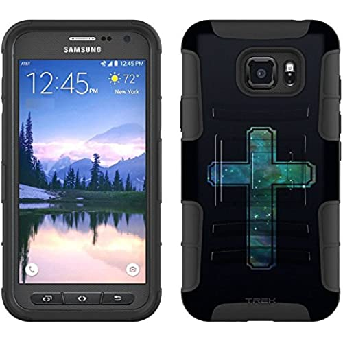 Samsung Galaxy S7 Active Armor Hybrid Case Nebula Blue Green Cross on Black 2 Piece Case with Holster for Samsung Sales