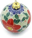 Polmedia Polish Pottery Polish Pottery 4-inch Ornament Christmas Ball (Snow Coral Zinnias Theme) Signature UNIKAT + Certificate of Authenticity