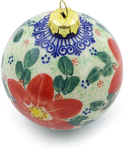 Polmedia Polish Pottery Polish Pottery 4-inch Ornament Christmas Ball (Snow Coral Zinnias Theme) Signature UNIKAT + Certificate of Authenticity