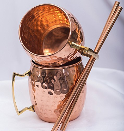 Moscow Mule Copper Mugs, Set of 2 Mugs 2 Copper Straws and Cleaning Brush, Highest Quality, 100% Solid Copper, (No Nickel Int.) 16oz Capacity, Handcrafted Mugs, Brass Handle, Hammered ()