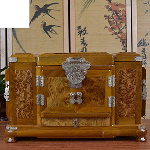 WODESHIJIE Golden Zhang Large Cosmetic case/Solid Wood Dresser Jewelry Box/Single Plate ()