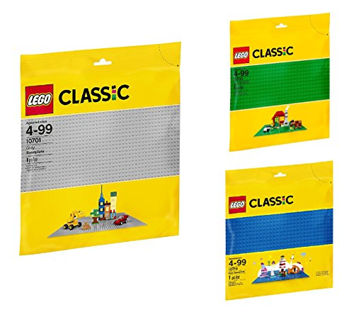 LEGO Classic Baseplate 3-Pack Bundle (Gray,Green,Blue)