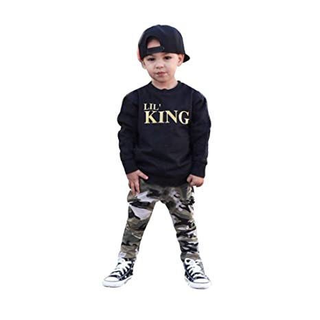 Kids Baby Newborn Toddler Boy Camouflage Long Sleeve T-shirt+Pants 2pcs Zsell Boys' Clothing (Newborn-5T)