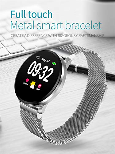 Price comparison product image Shan_s 1.22 INCH Full screenTouch Smart Bracelet,  Real-time Heart Rate Blood Pressure, Vibration,  Motion Mode, Remote Photography, Music Control Wristban (Siler)