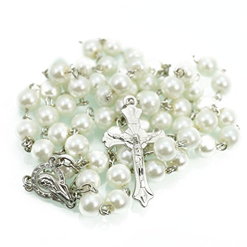 Price comparison product image Catholic Rosary Beads Pearls Cross Pendant Long Beaded Cross Necklace Chain Men (White)