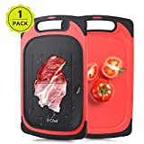 X-Chef Defrosting Tray, 2 in 1 Defrosting Cutting Board Thawing Plate for Kitchen Chopping Thawing Meat Chicken Fish Steak, 2 Side Use, 15.9x9.5inch, Red