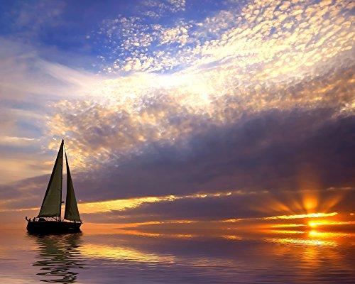 Sunset/Sunrise/Sailboat 8 x 10/8x10 Glossy Photo ()