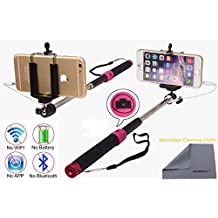 Wonbsdom Extendable Cable Control Built-in Remote Self-portrait Stick Monopod-Black[No Bluetooth Matching & Battery Free]with Adjustable Phone Holder for Smartphones iPhone6 5 5s 5c 4s 4 Samsung Galaxy S5 S4 S3 Note4 3 2 Sony HTC,Nokia,etc.(V)