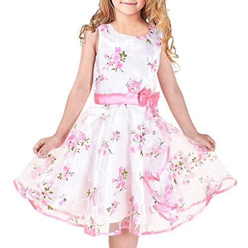 Meisjes Jurk 3 lagen Roze Bloem Golf Optocht Bruiloft Kinderkleding 4-12 jaren