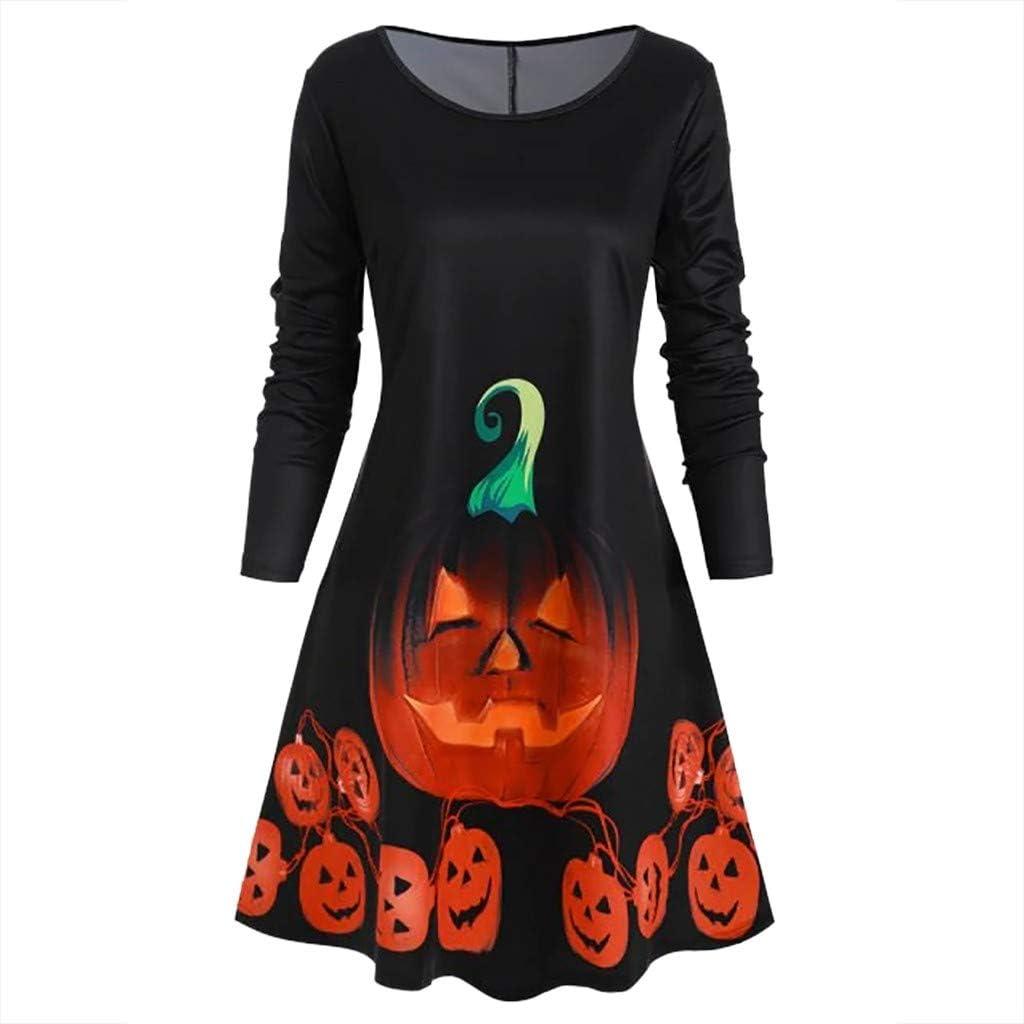 WYFJNX Womens Long Sleeve Halloween Dress Pumpkin Cute Shantou Bat Printed Midi Dresses with Pockets