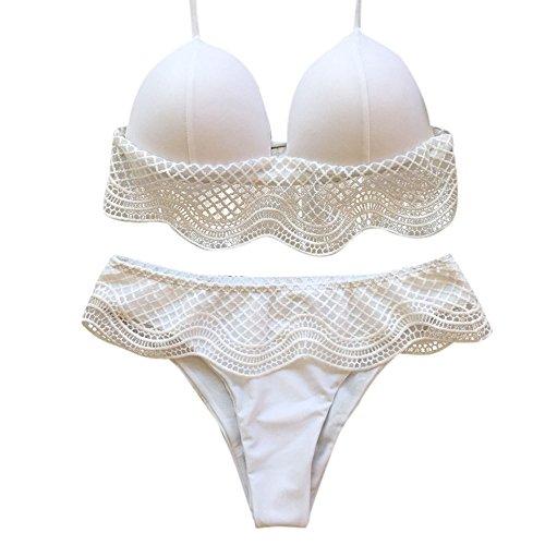 eces Swimsuits for Women Lace Solid Color Triangle Split Bikini Set Beach Swimwear Bathing Suits White ()