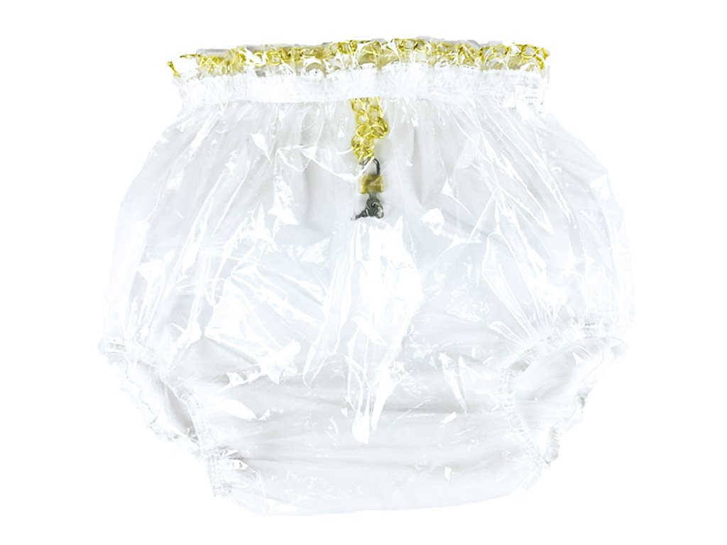 Haian ABDL Pull-On Locking Plastic Pants (Medium, Glass Clear)