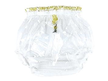Haian ABDL Pull-On Locking Plastic Pants X-Large, Transparent Pink
