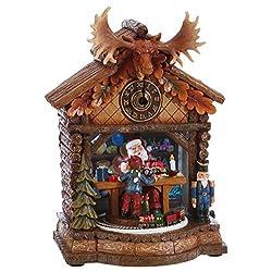 RAZ Imports Santa's Workshop Musical Christmas Clock Decoration, 9 1/2 Inch