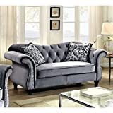 Furniture of America Ivorah Glamorous Love Seat, Dolphin Gray Review