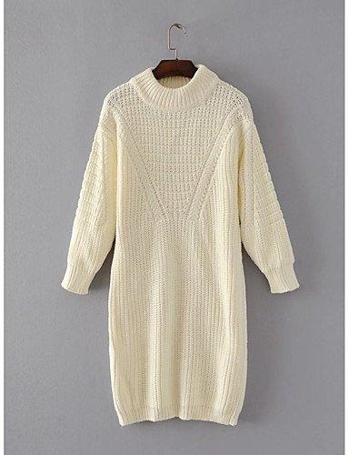 BaiChunYunYi Damen Standard Pullover-Ausgehen Lässig Alltäglich Einfach Solide Rundhalsausschnitt Langarm Baumwolle Acryl Frühling Herbst Mittel