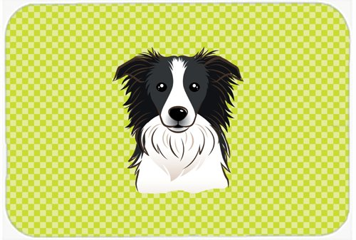 Caroline's Treasures BB1303MP Checkerboard Lime Green Border Collie Mouse Pad, Hot Pad or Trivet, Large, Multicolor