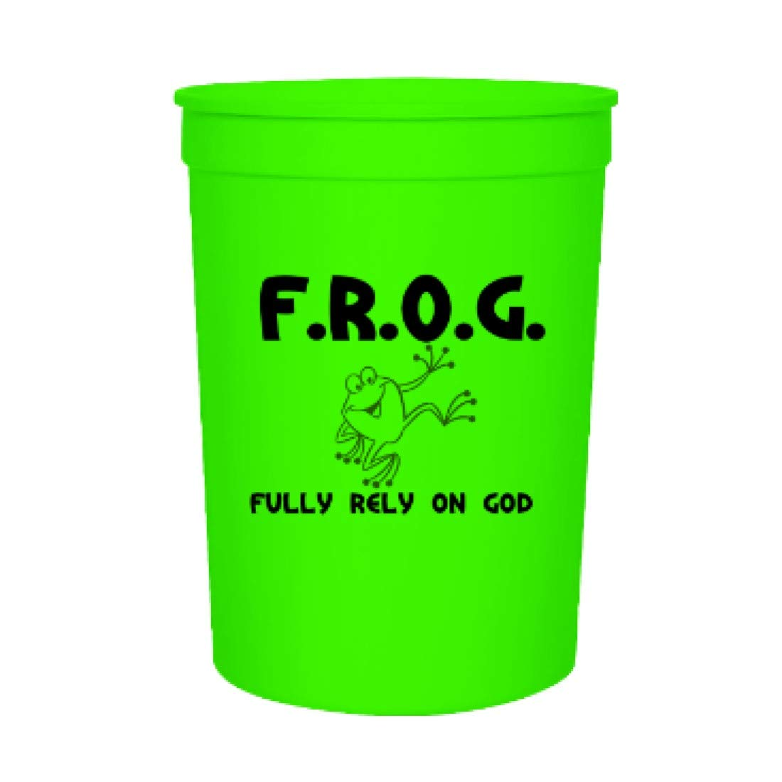 Green Fully Rely On God 12oz Stadium Cups (100 Count) Bulk