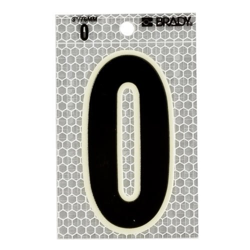 Brady 3010-0, 52250 Glow-In-The-Dark/Ultra Reflective Number - 1, 12 Packs of 10 pcs