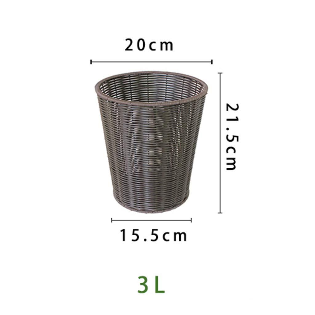 LIMING Bote de Basura - Almacenamiento de de de Parque Abierto del baño de la Cocina del Bote de Basura del Cubo Tejido ratán plástico (Tamaño : 3L) 5ea6ed
