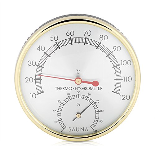 (FTVOGUE Sauna Thermometer Metal Dial Hygrometer Hygro-Thermometer Indoor Room Accessory)