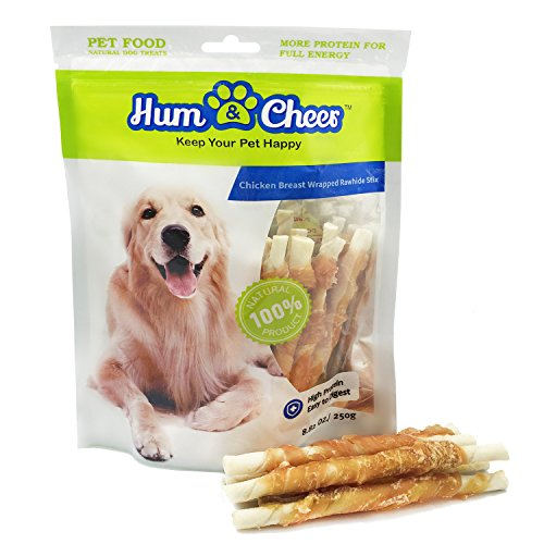 Cheap Hum & Cheer Hm000076Ck-250 Premium Dog Treats Chews Chicken Breast Wrapped Rawhide Stix For Training, 8.82 Oz/One Size/250G