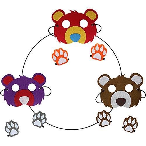 Bear Costumes Kids Woodland Animal Masks Toddler Boys Dress up Zoo Party Favors (3 Pieces) -