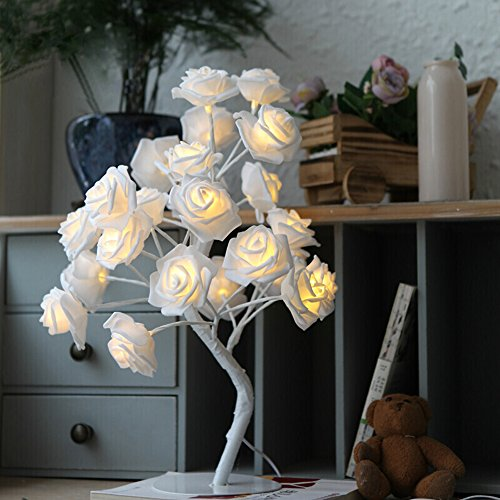 ElementDigital Rose Tree Table Lamp Battery White Rose Twig Tree Pre Lit Tree LED Lamp Light Party Holiday Wedding Bedroom Living Room Home Indoor Decoration 32 Warm White LEDs (Twigs Lit Pre)