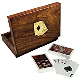 Playing Cards Box Vintage Deck Card for Original Standard Double Decks Wood - 6.3 Inch
