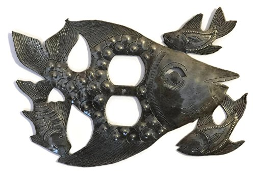 Metal Outlet Light Covers, Swimming, Fish, Haiti, Handmade From Recycle Oil Drum