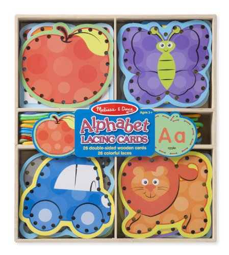 Melissa-Doug-Alphabet-Wooden-Lacing-Cards-With-Double-Sided-Panels-and-Matching-Laces