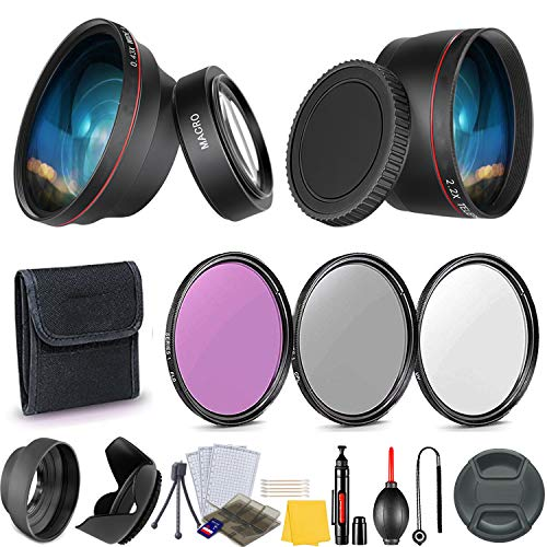 58mm Essential Camera Accessory Kit for Canon EOS Rebel T7i, T7, T6i, T6s, T6, T5i, T5, T3i, T3, SL3, SL2, SL1, EOS 90D, 80D, 70D, 60D, 2000D, 1300D, 1200D, 1100D, 200D, 250D, 800D DSLRs (16 Pcs)