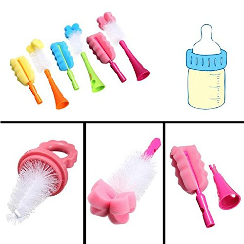 5in1 Baby Wash Nipple Straw Rotating Brush Milk Feeding Bottle Nozzle Cup Sponge Drinking Straw Cleaner Set(Random: - Gallon 12 Canister