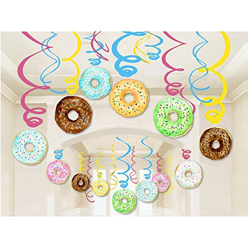 30PCS Donut Party Supplies - Breakfast/Slumber Birthday Party Hanging Swirl Decorations